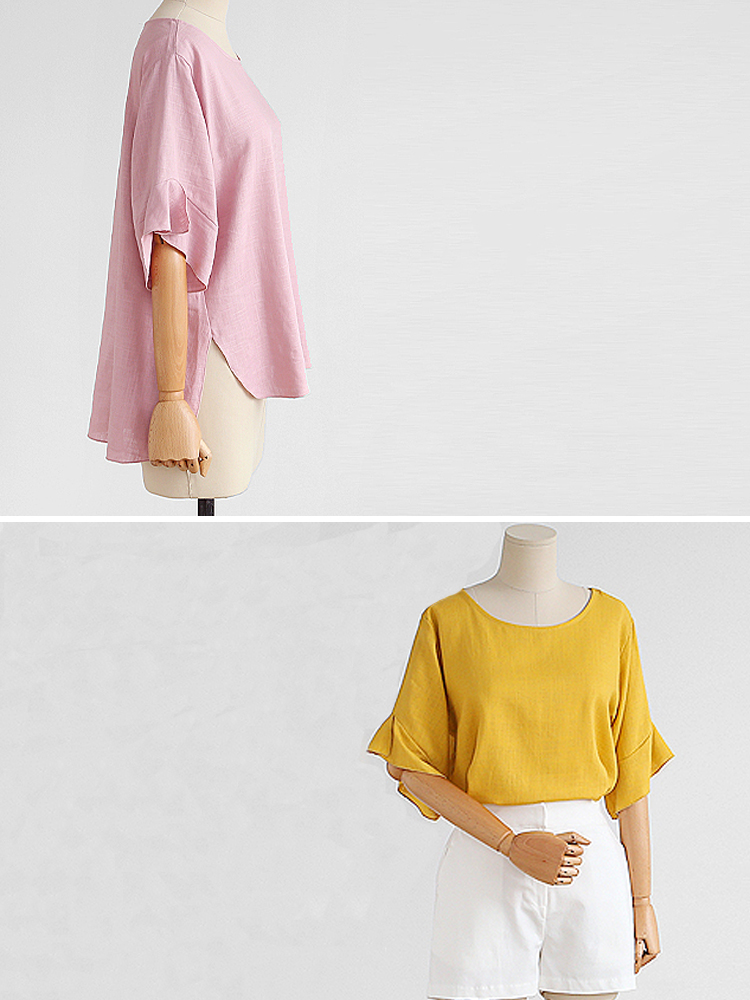 Solid Color Flare Sleeve O-Neck High Low Loose Blouse