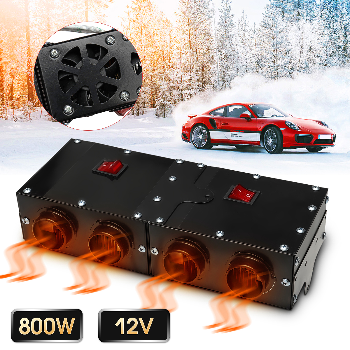 800W 12V Car Windscreen Defrosting Demister Heating Warmer Car Heater with Four Fans