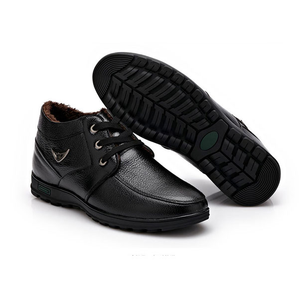 New Men Winter Casual Keep Warm Plush Cotton Outdoor Non-Slip Comfortable Business Boots Shoes