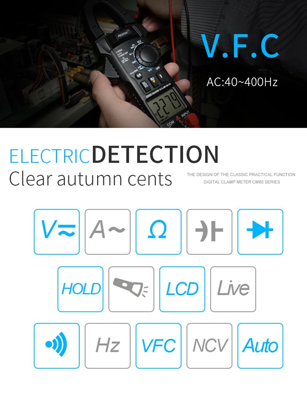 MESTEK CM80 Clamp Multimeter Diagnostic-tool 6000 Counts Digital DC