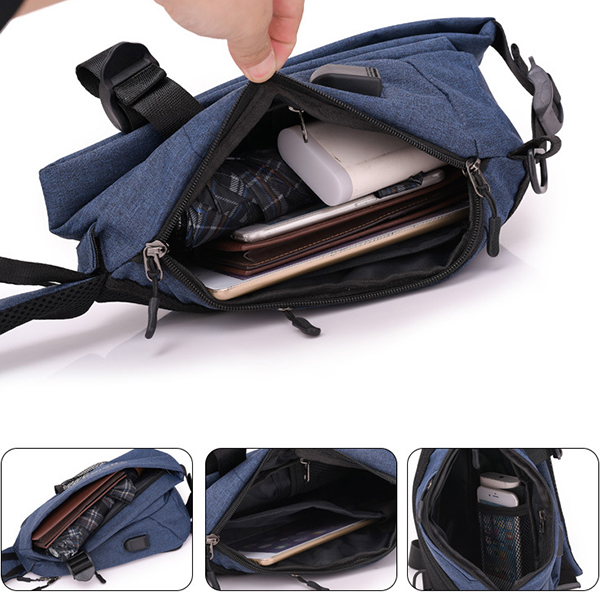 Men Waterproof Minimalist Fashion Casual Chest Bag USB Charg