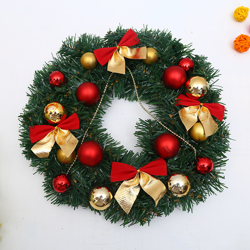 30CM Christmas Decorations Santa Garland Wreaths Bow Pine Needles Wall Hanging Rattan Decor