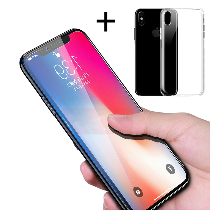 Bakeey 4D Curved Edge Tempered Glass Film With Transparent TPU Case for iPhone X