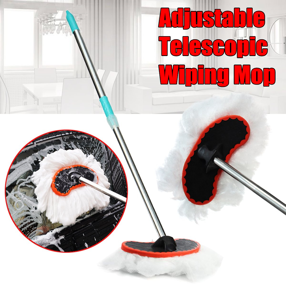 Car Wash Brush Adjustable Telescopic Wiping Mop Cleaning Tool Car Supplies