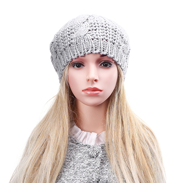 Unisex Knitted Crochet Hole Beanie Hat Knitting Foldable Elastic Baggy Cap For Women Ladies