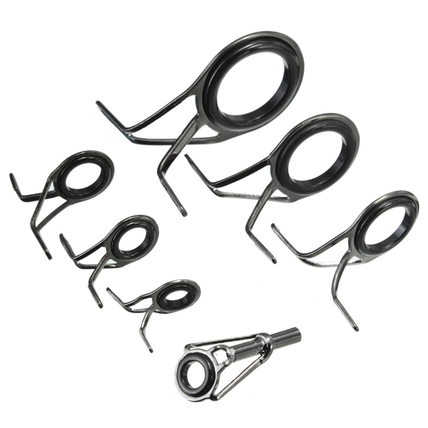 ZANLURE 7pcs Mixed Size Fishing Rod Rings Tip Fish Pole Repair Kit Line Guides Eyes Set