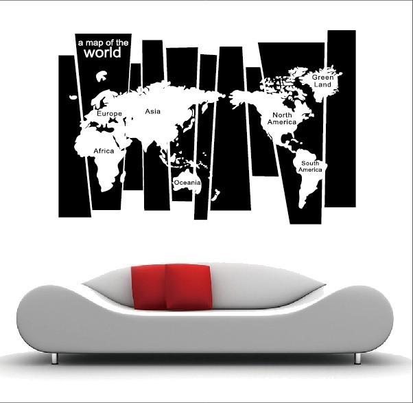 75*105 CM Black Travel World Map Poster Sticker