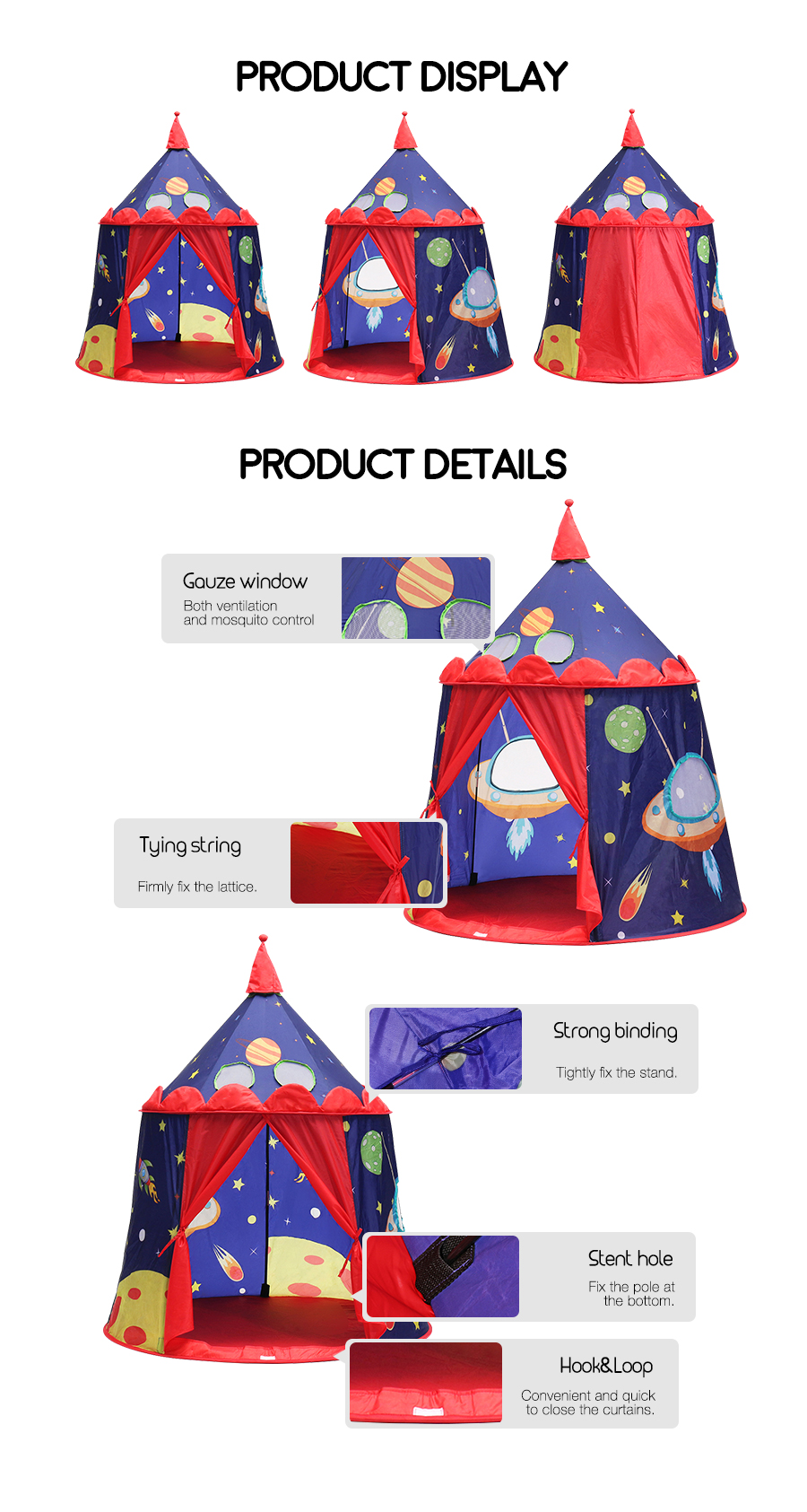Xmund XD-ET1 Portable Play Tent Children Toy Outdoor Castle House Universe Theme