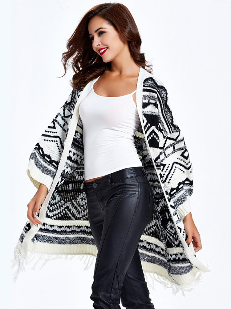 Casual Women Loose Printing Tassel Long Sweater Coat