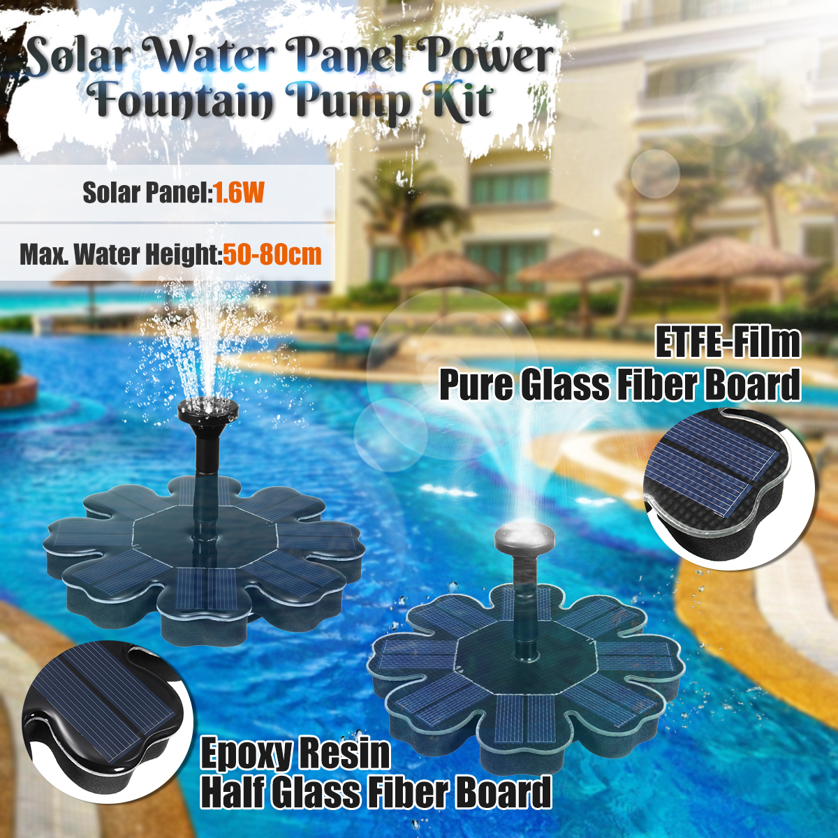 IP68 180L/H 1.4W Solar Powered Fountain Pump Kit Floating Pools Garden Ponds Brushless Water
