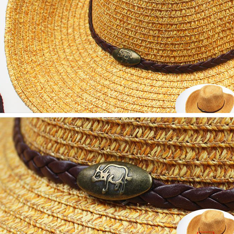 Panama Straw Cowboy Hat Wide Brim Bucket Caps