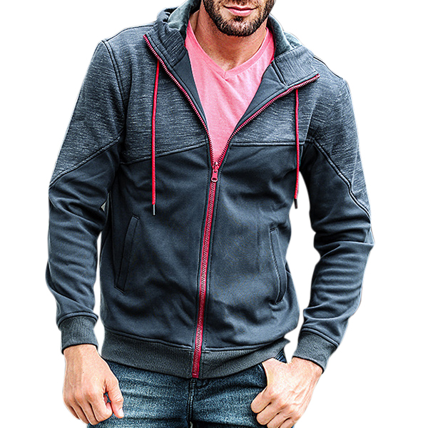 Stitching Color Zip Up Hoodies Warm Thick Hooded Jacket