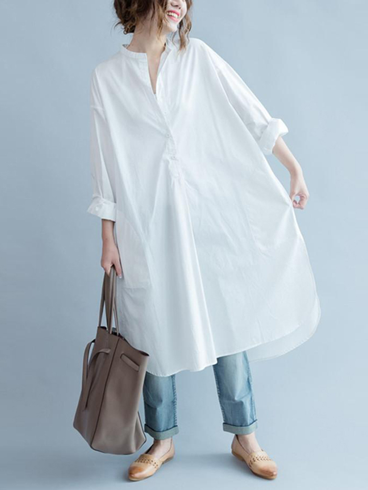 M-5XL Casual Women White V-Neck Long Blouse