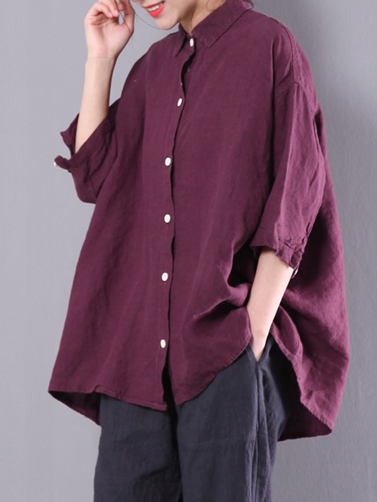 M-5XL Solid Color Blosue