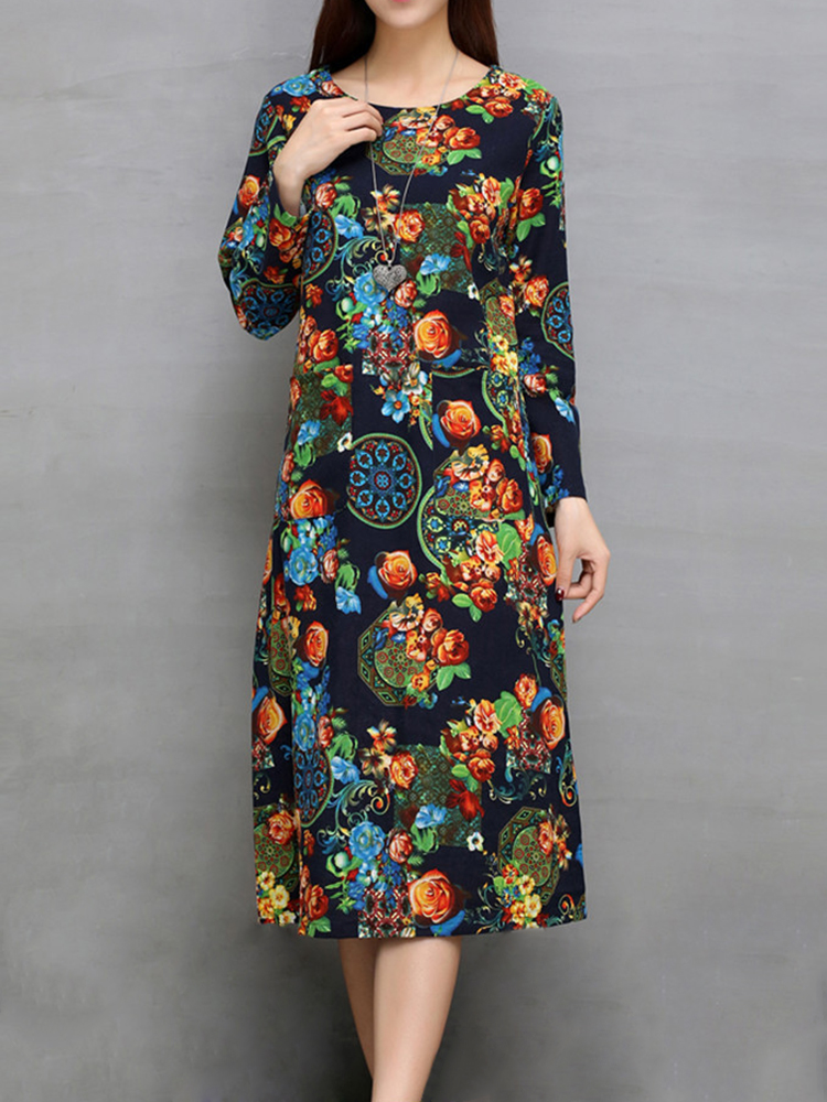 Ethnic Women Long Sleeve Floral Printed Pocket Loose Dress