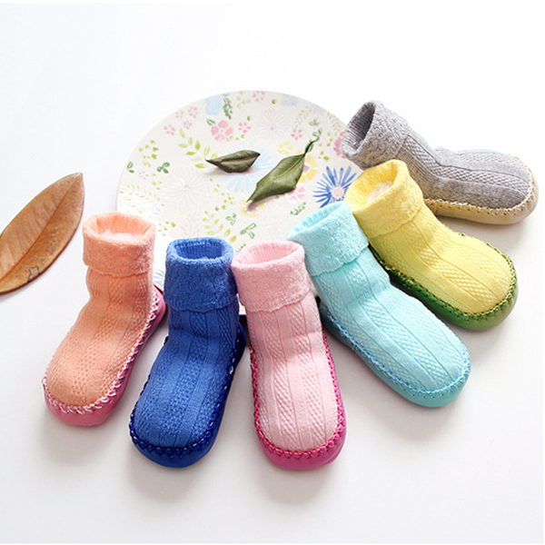 12 Pairs of Baby Toddler Cotton Fabric Candy Color Prewalking Sock Shoes
