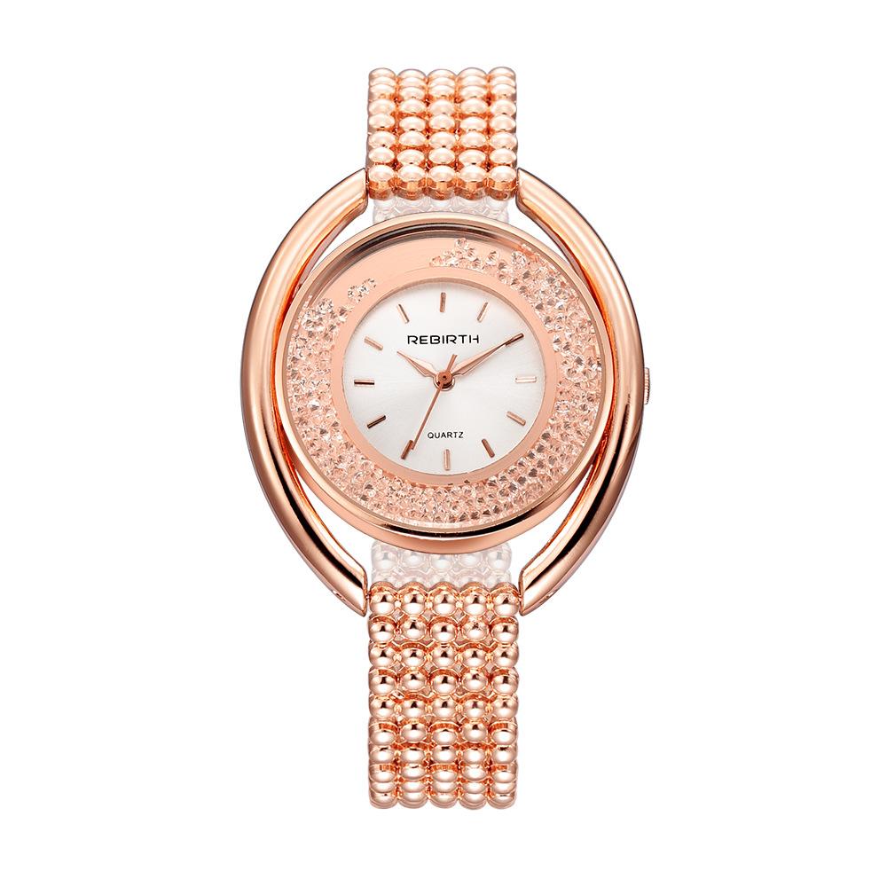 REBIRTH RE079 Fashion Diamond Steel Strap Women Quartz Watch