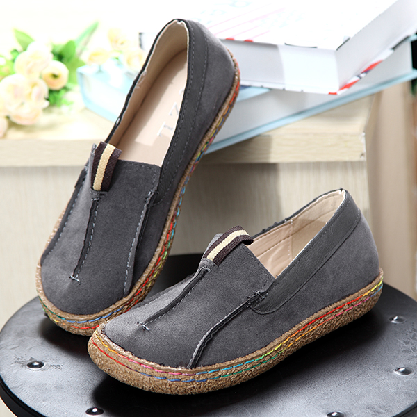US Size 5-11 Women Casual Round Toe Soft Comfortable Slip On Suede Flat Loafers Shoes