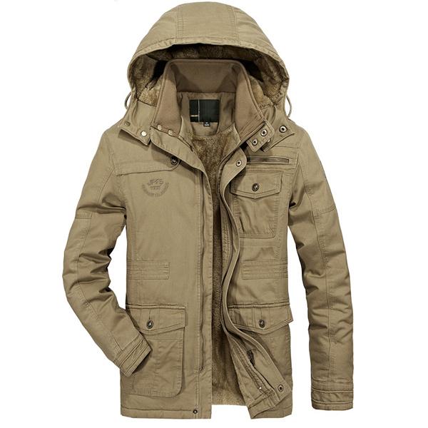 Mens Fleece Thick Warm Big Size Hooded Detachable Outdoor Jacket Winter Coat