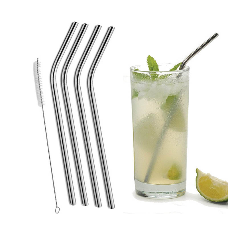 4 Pcs Stainless Steel Bent Drinking Straw For Yeti 20oz Tumbler With 1 Pc Cleaning Cleaner Brush