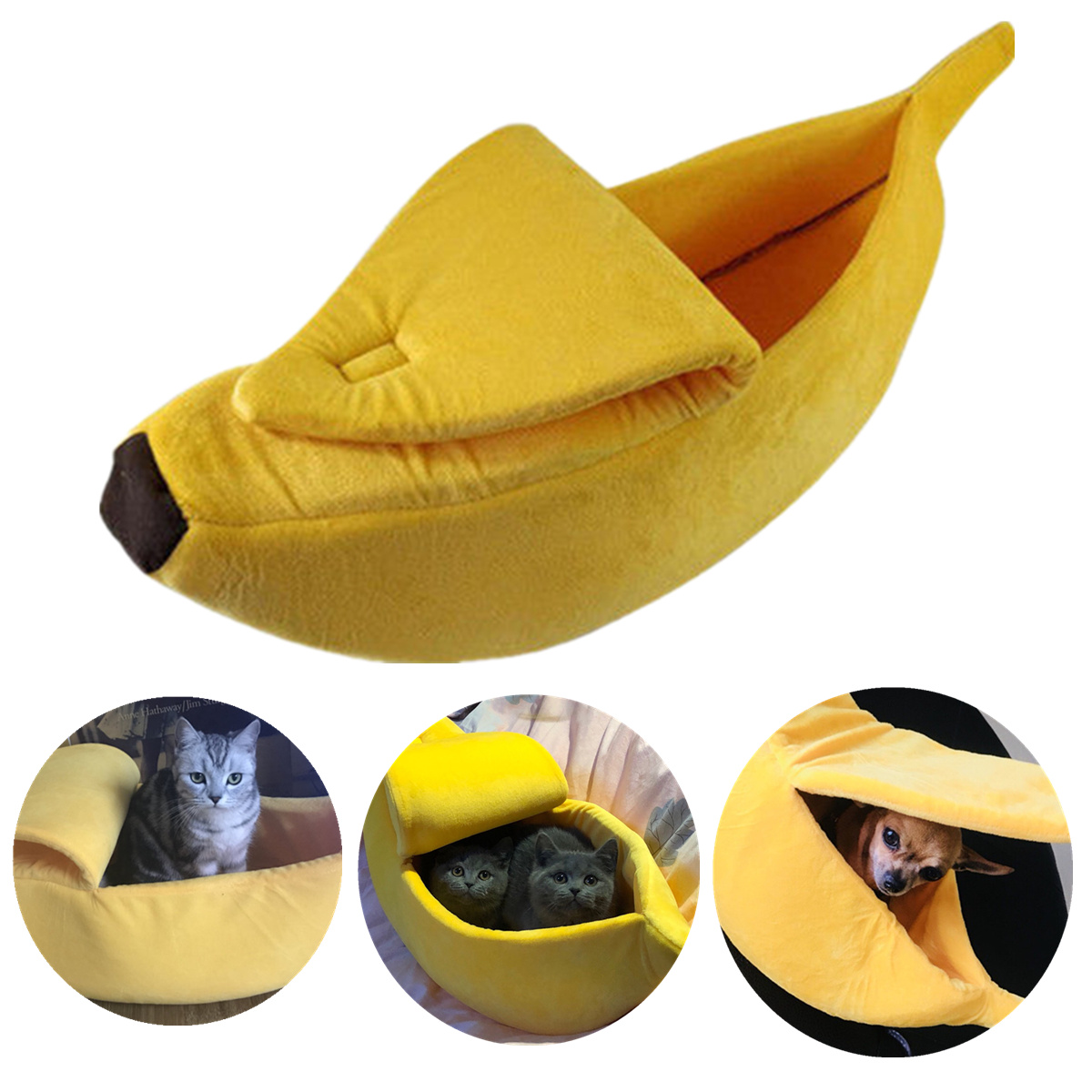 Pet Dog Cat Bed Warm House Mat Durable Kennel Doggy Soft Puppy Cushion Banana Shape Basket