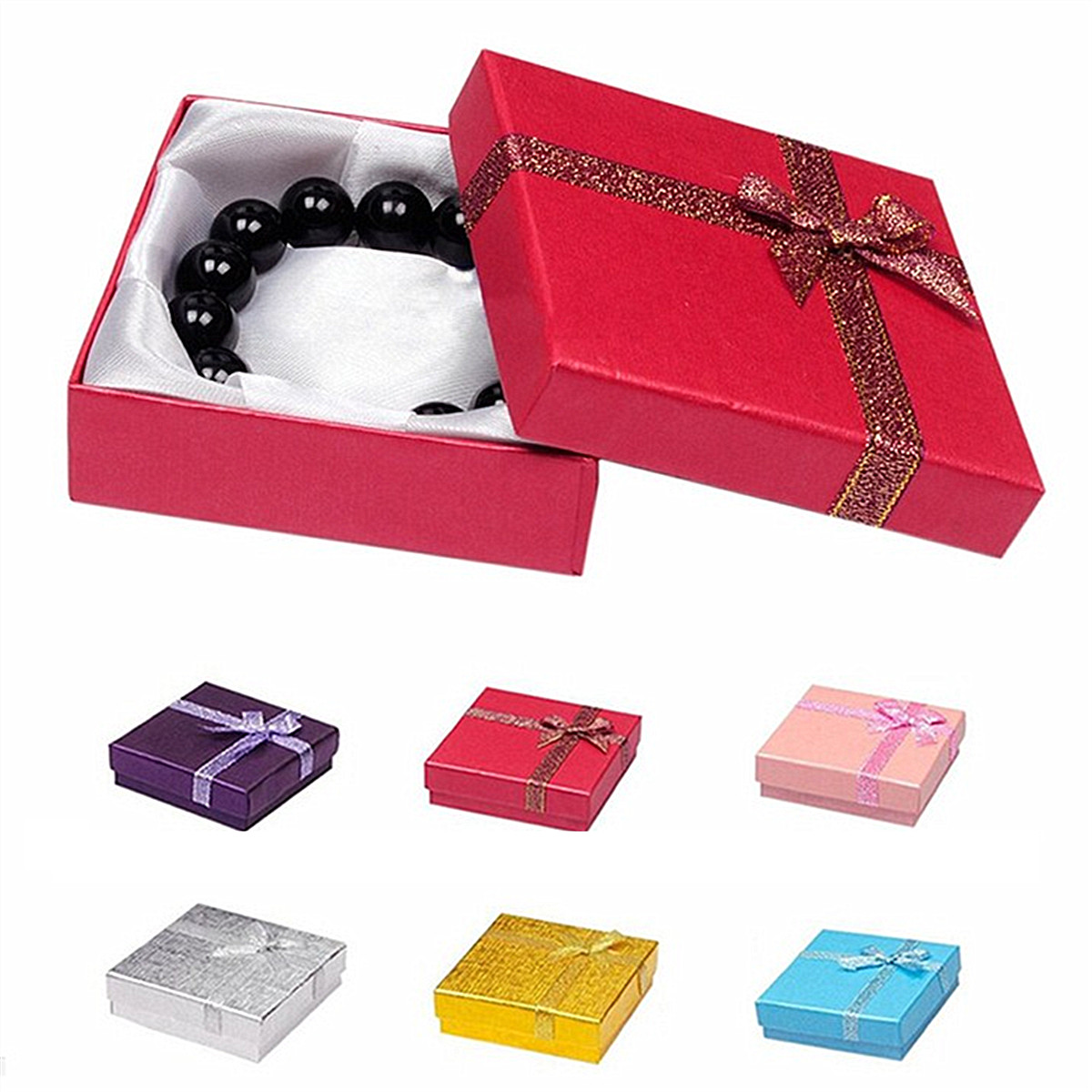 Square Cardboard Bowknot Bangle Bracelet Jewelry Gift Package Box