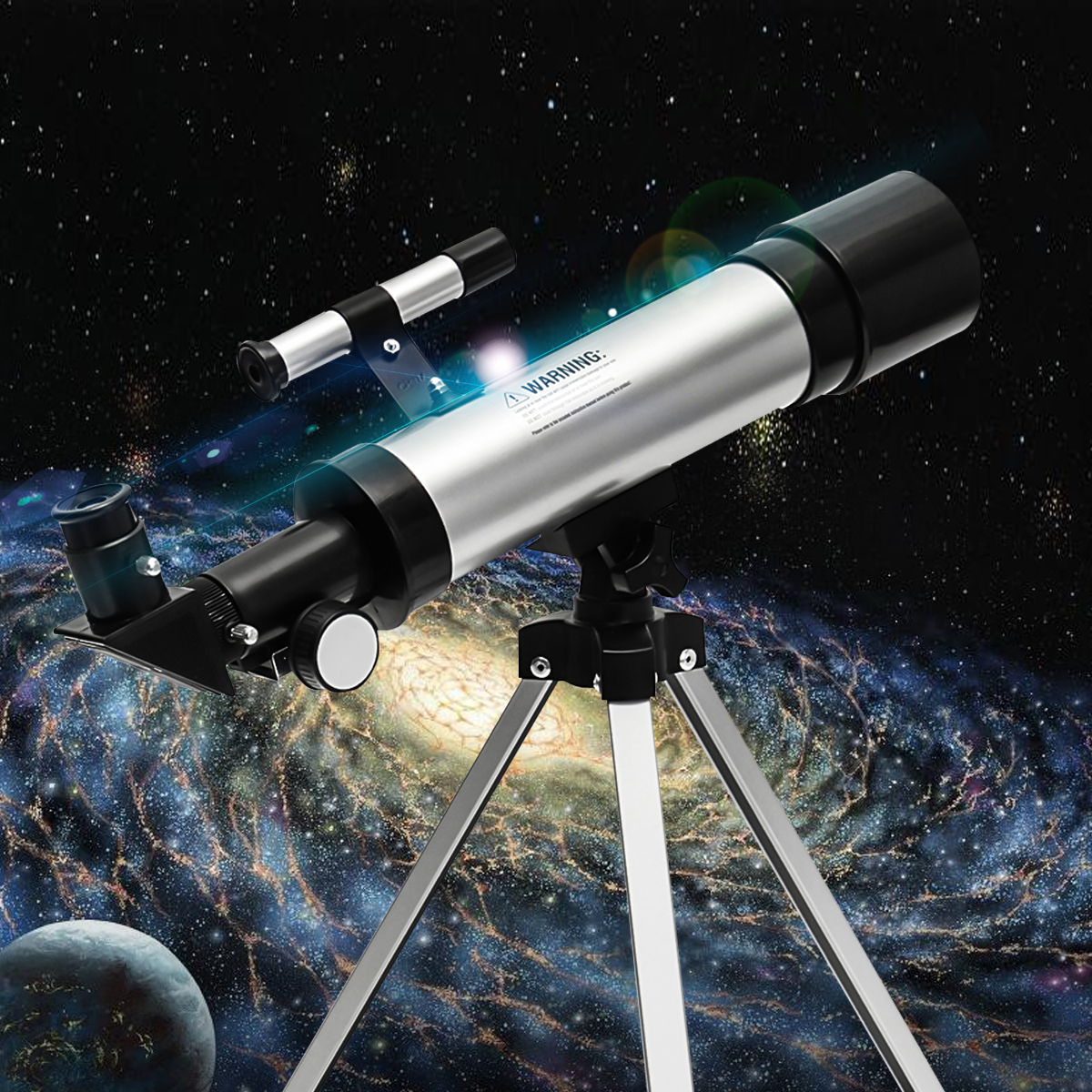 F360x50 HD Refractive Astronomical Telescope High Magnification Monocular+Phone Clip Adapter