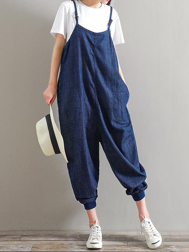 M-5XL Women Strap Denim Jumpsuits