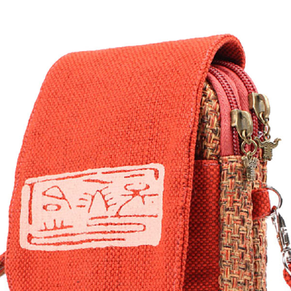 5.5 inches Casual Canvas National Style Small Crossbody Bag Phone Bag Shoulder Bags