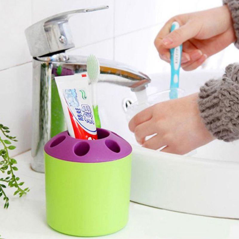 Multi-Function Perforated Plastic Toothbrush Holder Toothbrush Tube Storage Barrels Desktop Pen Holder Storage Boxes