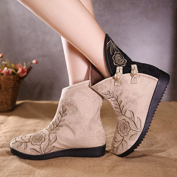 Women Embroidery Cotton Cloth Boots Flower Casual Shoes
