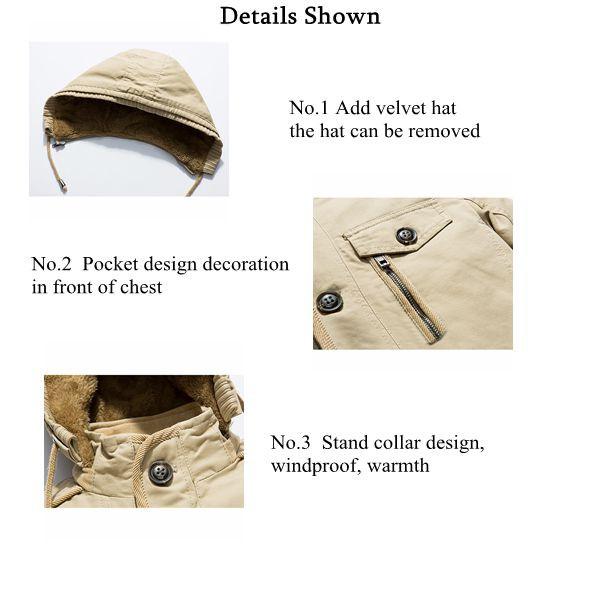 faf2d9ae7d7 Plus Size S-4XL Mens Winter Thick Velvet Lining Warm Parka Coat Detachable  Hood Cotton