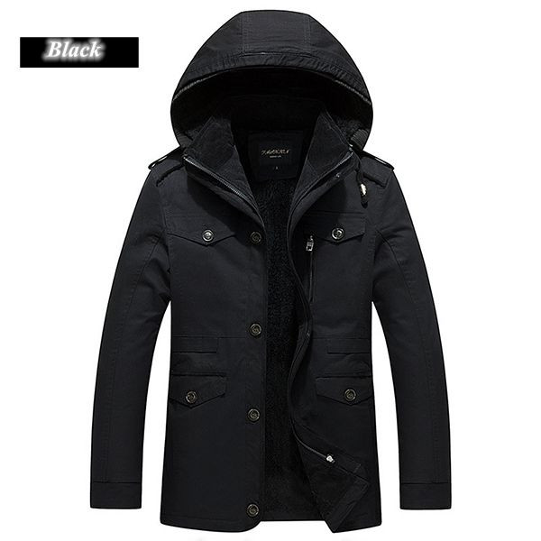 Plus Size S-4XL Mens Winter Thick Velvet Lining Warm Parka Coat Detachable Hood Cotton Jacket