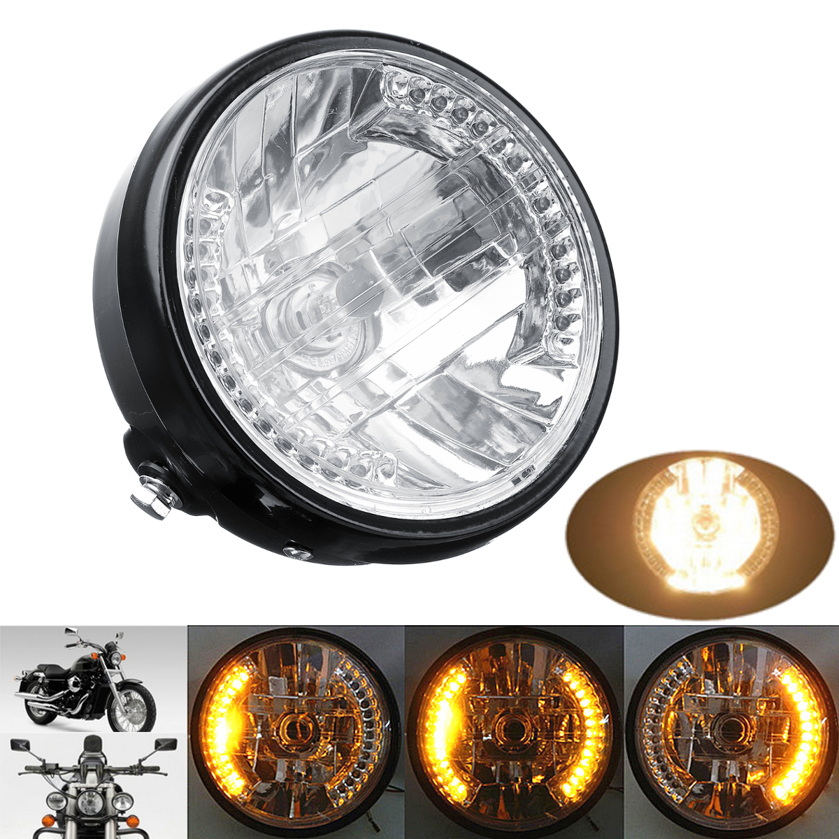 7inch Motorcycle Headlight Amber LED Turn Signal Light For Harley Cafe Racer