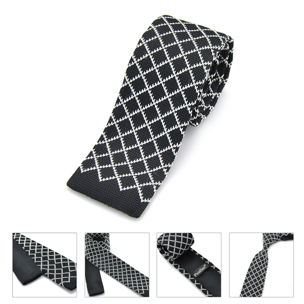 PenSee Mens Male Ties Casual Stripe Plaids Slim Skinny Knitting Neckties