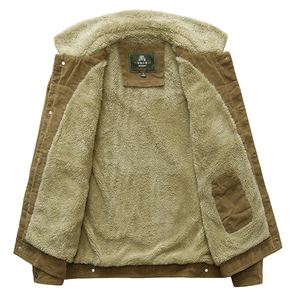 Mens Stand Collar Corduroy Fleece Thick Winter Warm Coat