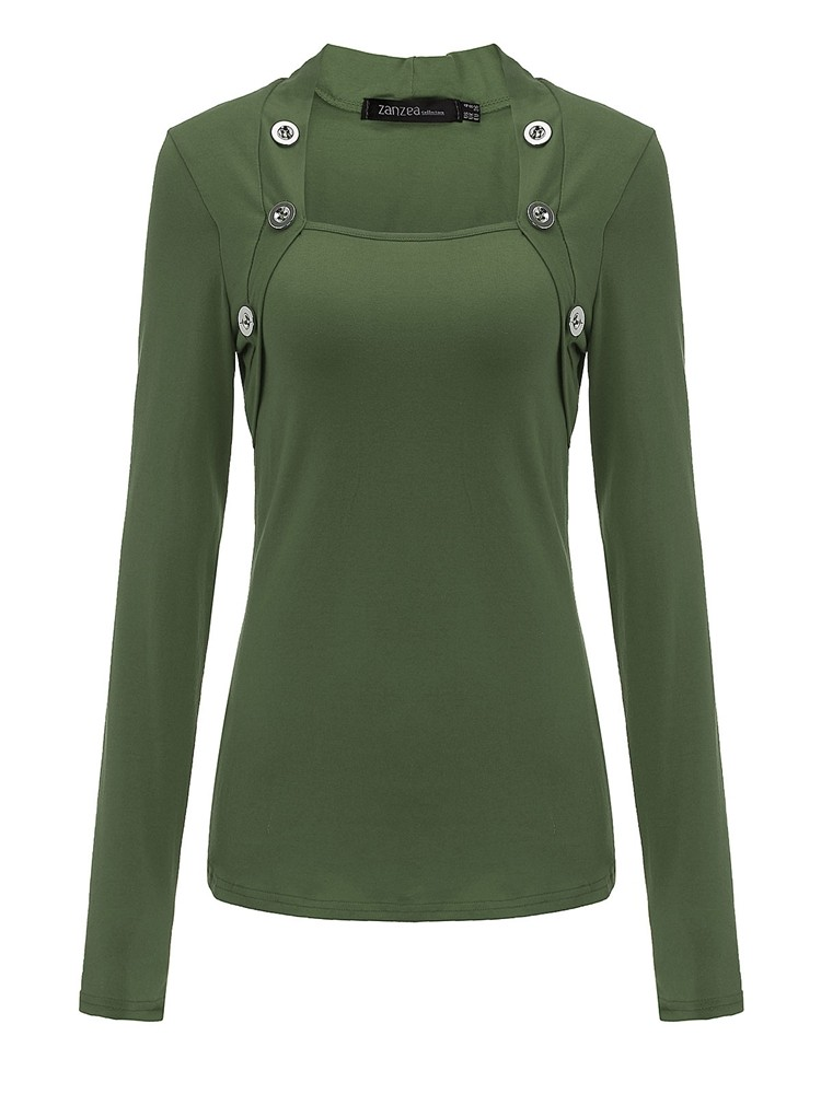 Casual Women Slim Long Sleeve Cotton Tops Solid Color Blouse With Buttons