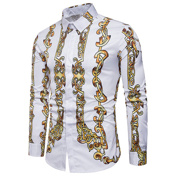 Mens Chain Printing Personality Casual Fashion Slim Fit Spri