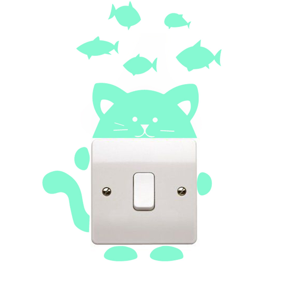 Honana DX-139 Fluorescent Glow Cat Thinking Fish Switch Wall Sticker Home Bedroom Decor