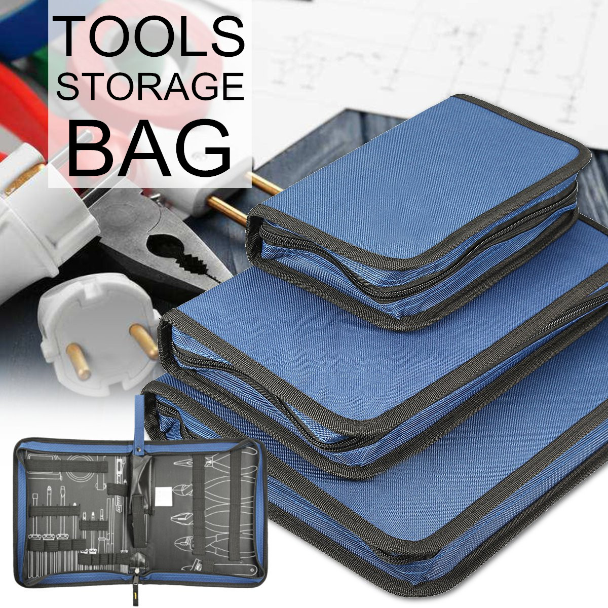 Tool Organizers Lightweight Oxford Canvas Tool Bag Zipper Hardware Storage Toolkit Travel Makeup Hand Pouch Up-To-Date Styling
