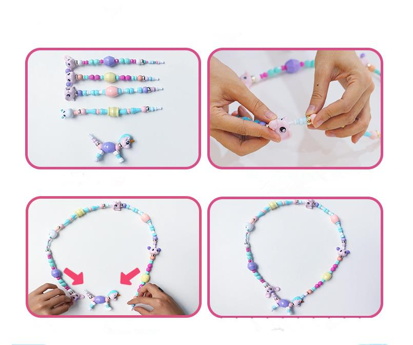 DIY Bracelet Toys Kids Fantasy Animals Unicorn String Beads Christmas Gift Collection Package