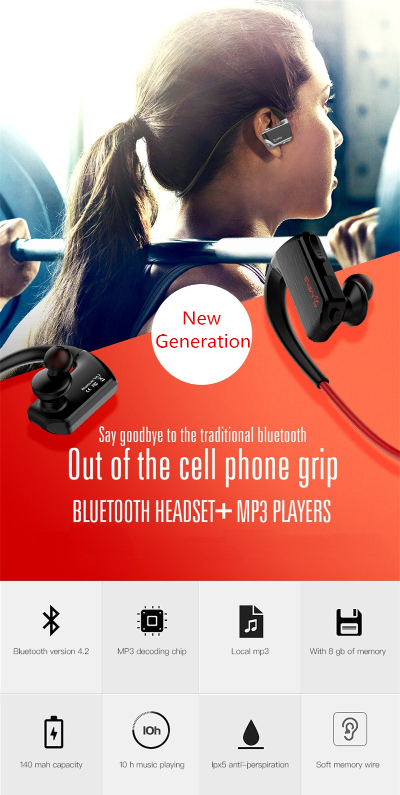 J2 2 in 1 Design IPX5 Waterproof HD Noise Reduciton 8GB MP3 Player bluetooth Earphone With Mic