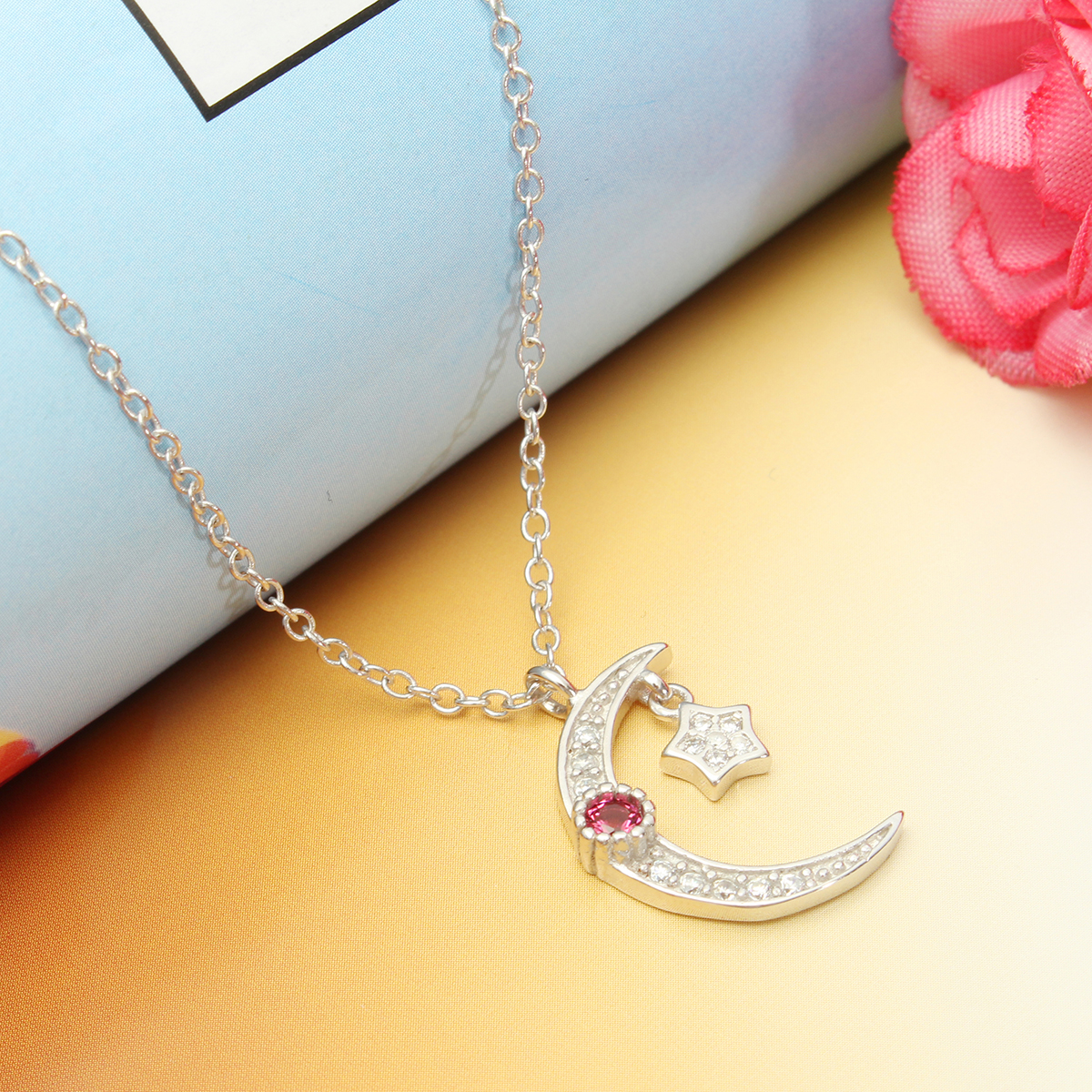 Vintage Necklace Rhinestone Crystal Alloy Star Moon Necklace