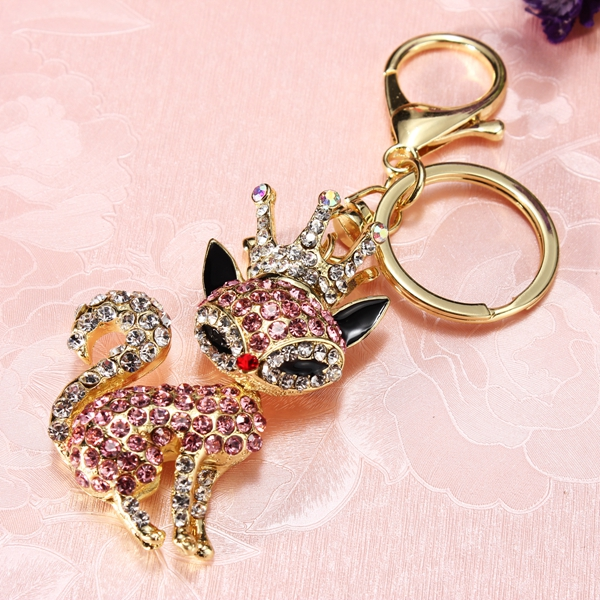 Crystal Crown Fox Pendant Animal Alloy Keychain Keyring