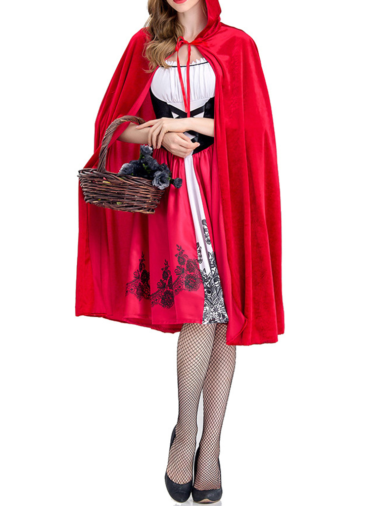 Halloween Costumes Cloak Patchwork Party Mini Dress