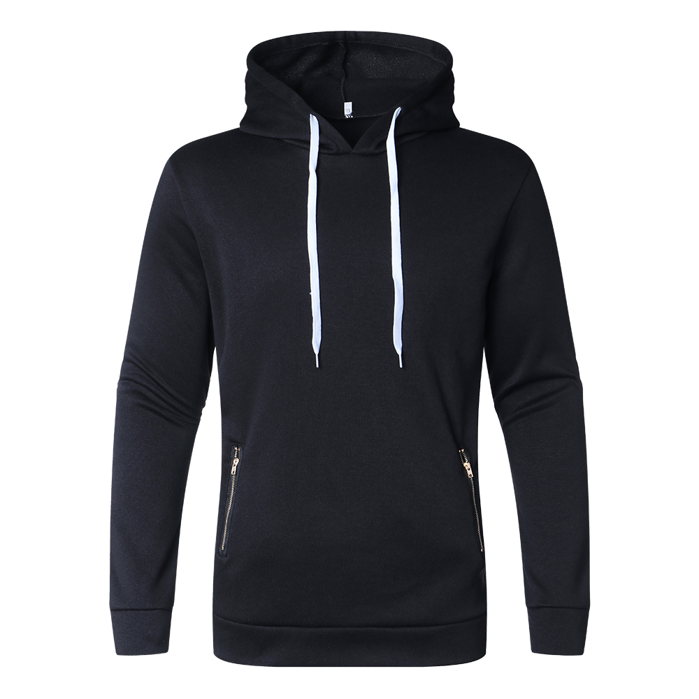 Men Zip Pocket Solid Hoodies Sweatshirts