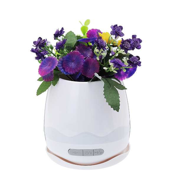 Smart bluetooth Speaker Music Flower Pot Plant with Colorful Night Light for Home Office Decor