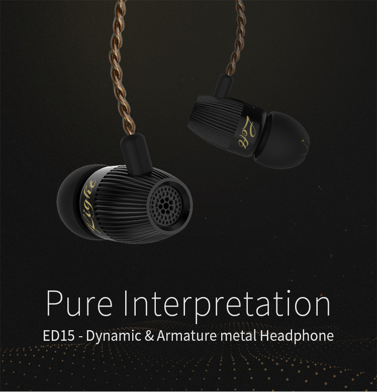 KZ ED15 Hifi 4 Drivers 3.5mm Jack Earphone Balanced Armature Dynamic Hybrid Heavy Bass Headphone