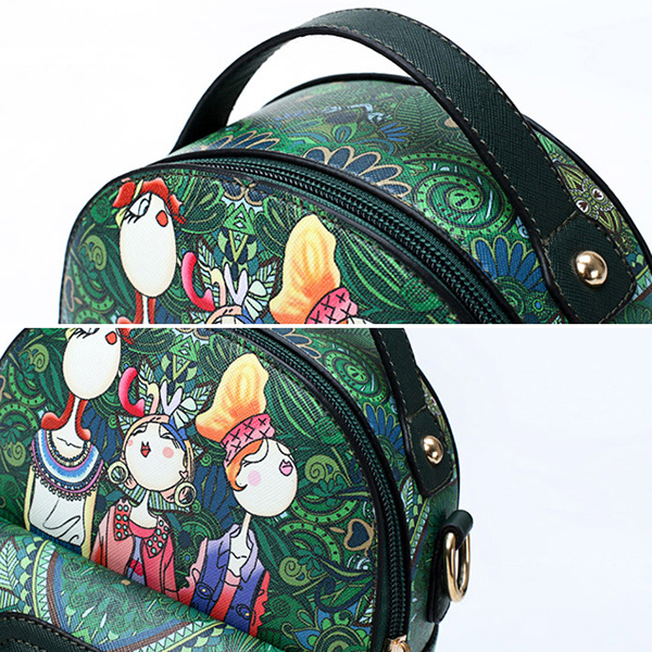Women Print Pattern Designer Handbag Backpack Shoulder Bag