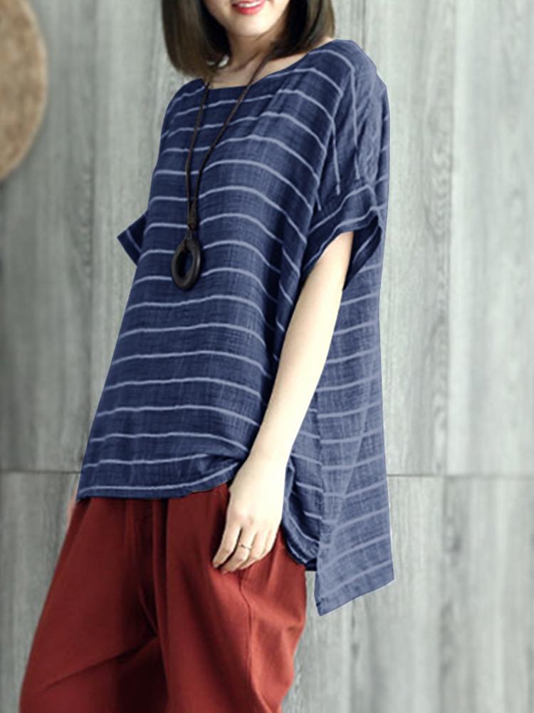 S-5XL Women Casual Half Sleeves Loose Stripe Blouse